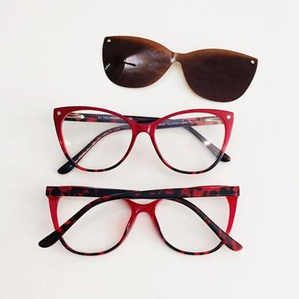 Armação de Óculos de Grau - 2 em 1 - Laura 5102/6102 - Vermelho C1