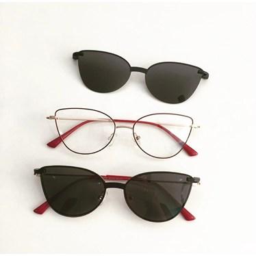 Armação de óculos de grau - Alana - Bordo com dourado C2