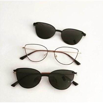 Armação de óculos de grau - Alana - Marrom com dourado C5