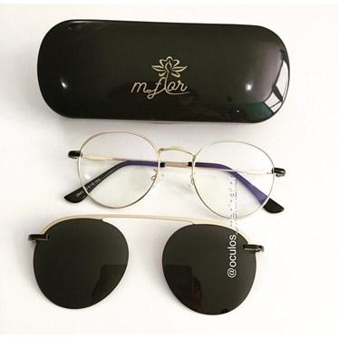 Armação de óculos de grau - Alice 2.0 - Dourada lente preta