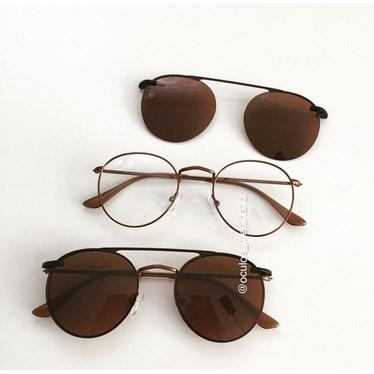 Armação de óculos de grau - Alice - Bronze lente Marrom