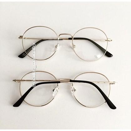 Armação de óculos de grau - Aloha - Dourado lente marrom