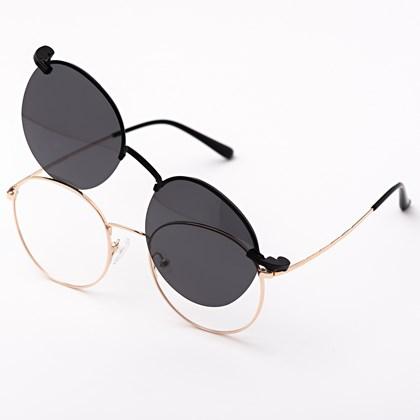 Armação de óculos de grau - Aloha - Dourado lente preta