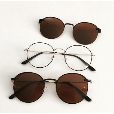 Armação de óculos de grau - Aloha - Preto com dourado lente marrom