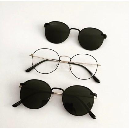 Armação de óculos de grau - Aloha - Preto com dourado lente preta