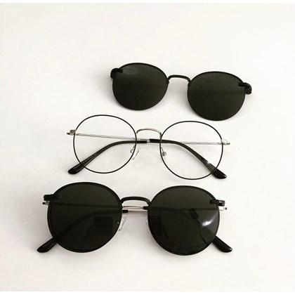 Armação de óculos de grau - Aloha - Preto com prata lentes pretas