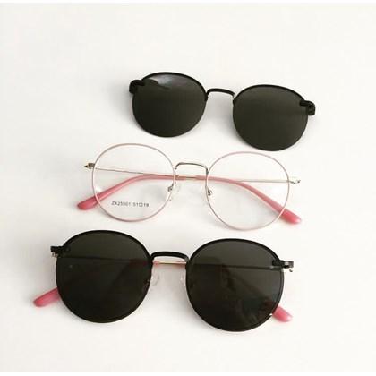 Armação de óculos de grau - Aloha - Rose com dourado