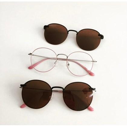 Armação de óculos de grau - Aloha - Rose com Prata lentes marrom