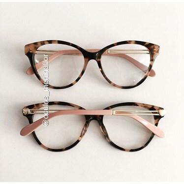 Armação de óculos de grau - Amore - Animal print haste rose