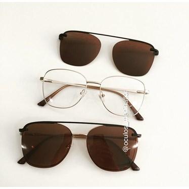 Armação de óculos de grau - Antonella - Dourado lente marrom