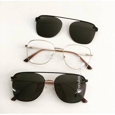 Armação de óculos de grau - Antonella - Dourado lente preta