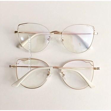 Armação de óculos de grau - Aurora - Branco com dourado