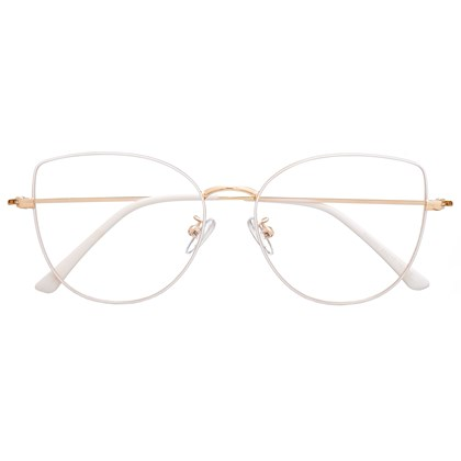 Armação de óculos de grau - Aurora Deux - Branco com dourado