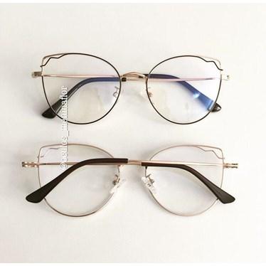 Armação de óculos de grau - Aurora - Marrom escuro com dourado