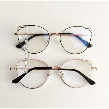 Armação de óculos de grau - Aurora - Preto com Dourado