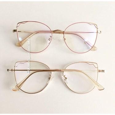 Armação de óculos de grau - Aurora - Rose com dourado