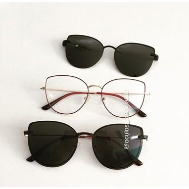 Armação de óculos de grau - Aurora Two - Bordo com dourado