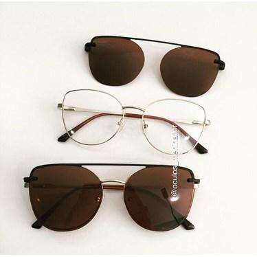 Armação de óculos de grau - Aurora versão 2.0 - Dourado lente marrom