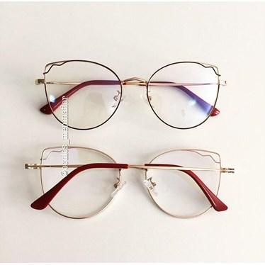 Armação de óculos de grau - Aurora - Vinho com dourado