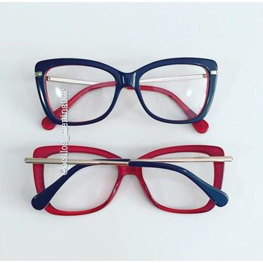 Armação de óculos de grau - B545 - Azul fundo vermelho