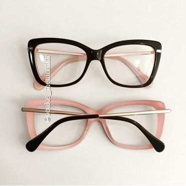 Armação de óculos de grau - B545 - Preto fundo rosa