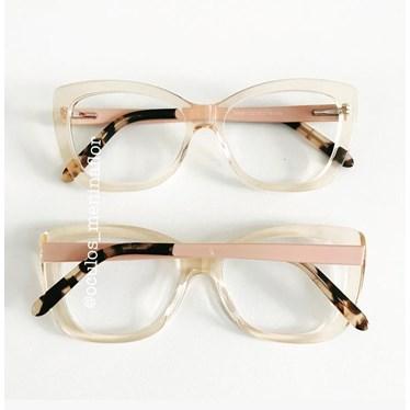 Armação de óculos de grau - B549 - Dourado transparente