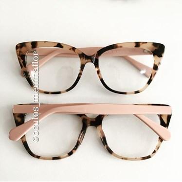 Armação de óculos de grau - BB2026 - Animal print haste rose