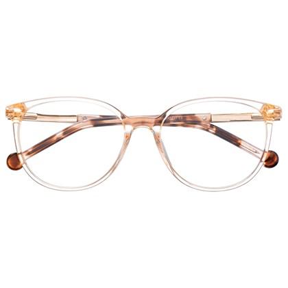 Armação de óculos de grau - Bee 10069 - Dourado transparente haste animal print C2