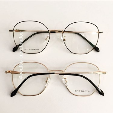 Armação de óculos de grau - Bela - Preto com dourado