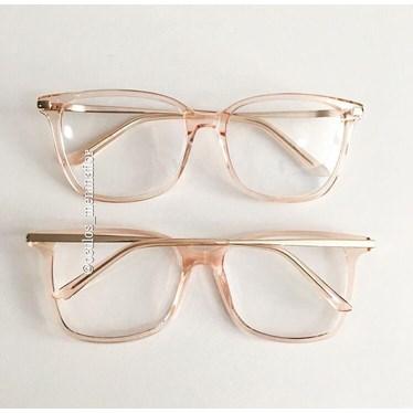 Armação de óculos de grau - Belli Quadradinha - Rose Transparência
