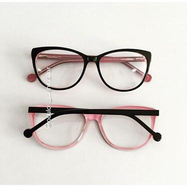 Armação de óculos de grau - Bruninha 10051 - Preto fundo rosa