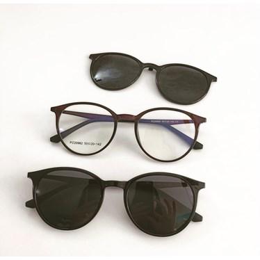 Armação de óculos de grau - Califórnia 982 - Marrom com clip on preto