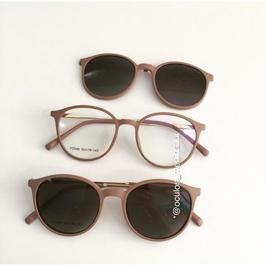 Armação de óculos de grau - Califórnia haste metal - Nude Chocolate