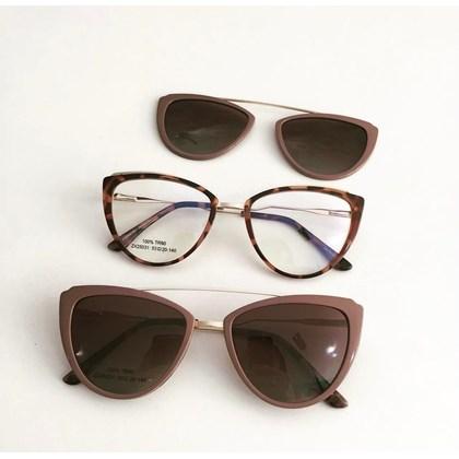 Armação de óculos de grau - Catarina 25031 - Animal print Clip on Nude C6