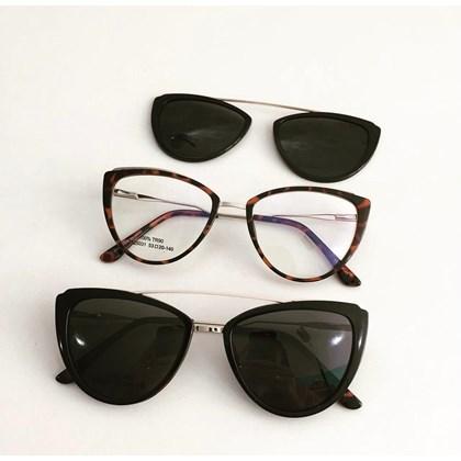 Armação de óculos de grau - Catarina 25031 - Animal print Clip on preto C3