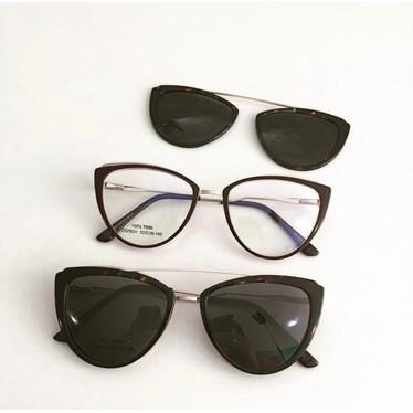 Armação de óculos de grau - Catarina 25031 - Bordo Clip on animal print C4