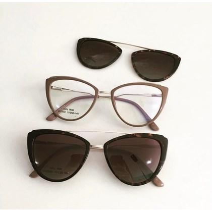 Armação de óculos de grau - Catarina 25031 - Nude Clip on animal print C5