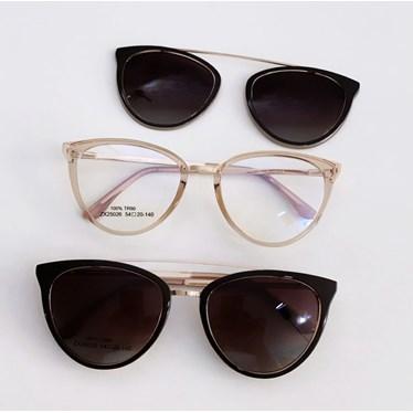 Armação de óculos de grau - Cathe 25026 - Dourado Transparente lente marrom C5