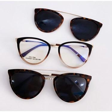 Armação de óculos de grau - Cathe 25026 - Marrom transparência clipon on animal print C4