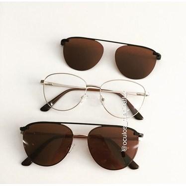 Armação de óculos de grau - Charlote 2.0 - Dourado lente marrom