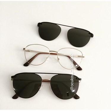Armação de óculos de grau - Charlote 2.0 - Dourado lente preta