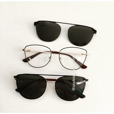 Armação de óculos de grau - Charlotte 88007 - Marrom com dourado