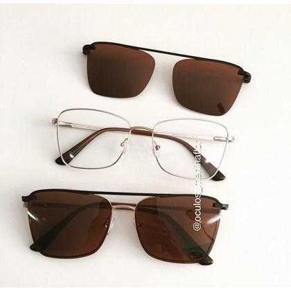Armação de óculos de grau - Cher - Dourado lente marrom