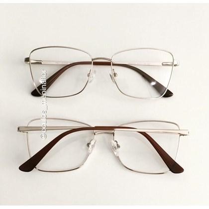 Armação de óculos de grau - Cher - Dourado lente preta
