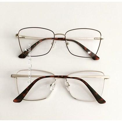 Armação de óculos de grau - Cher - Marrom com dourado lente preta