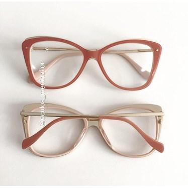 Armação de óculos de grau - Cloé - Rosa goiaba