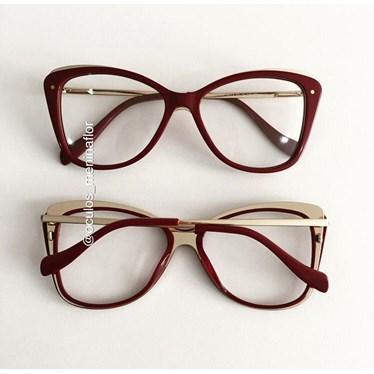 Armação de óculos de grau - Cloé - Vinho
