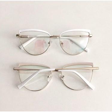 Armação de óculos de grau - Dominique 8048 - Branco com dourado