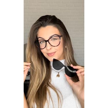 Armação de óculos de grau - Dona de Mim 25013 - Animal print lente preta