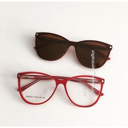 Armação de óculos de grau - Dona de Mim 25013 - Vermelho lente marrom